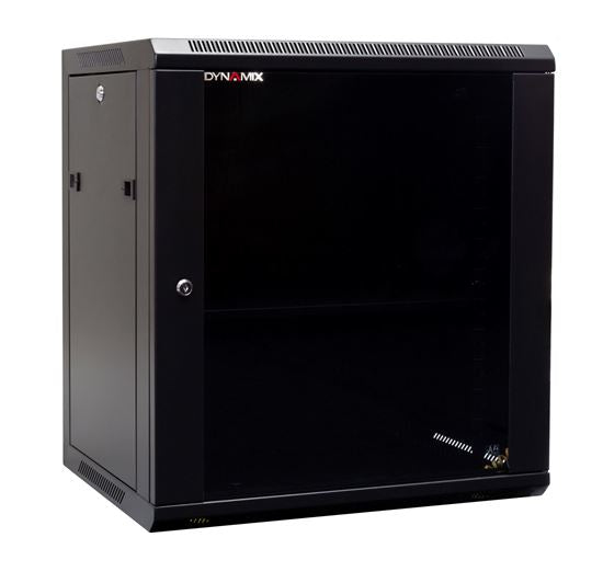 Picture of RWM12: DYNAMIX 12RU Wall Mount Cabinet 450mm Deep (600 x 450 x 635mm). Includes 1x Fixed Shelf, 2x Fans & 10x Cage Nuts. Black Gloss Colour, front door.
