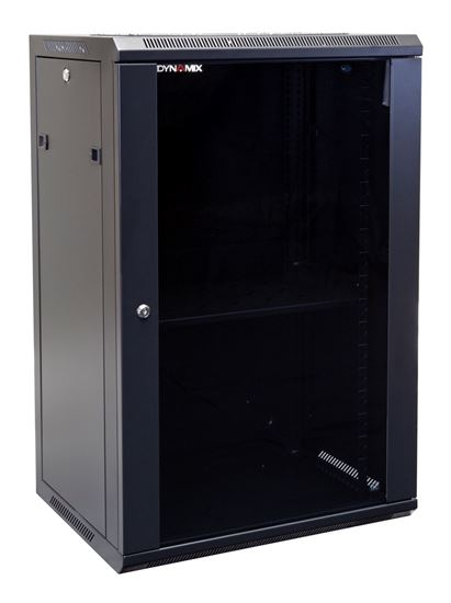 Picture of RWM18: DYNAMIX 18RU Wall Mount Cabinet 450mm Deep (600 x 450 x 901mm). Includes 1x Fixed Shelf, 2x Fans & 10x Cage Nuts. Black Gloss Colour, front door.
