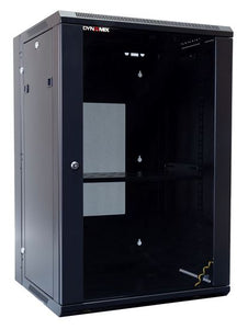 Picture of RSFDS18-600: DYNAMIX 18RU 600mm Deep Universal Swing Wall Mount Cabinet. Removable Backmount (600 x 600 x 901mm). Includes 2x fans, 1x fixed shelf, 10x cage nuts. 6-Way PDU installed. Gloss black colour.