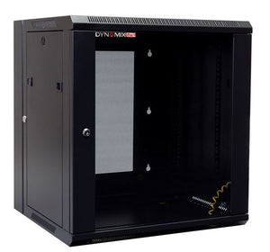 Picture of RSFDSL12: DYNAMIX LITE 12RU Swing Wall Mount Cabinet. Right hand mounted. The LITE version excludes fixed shelves and fans. Includes 10x cage nuts. Gloss black colour.