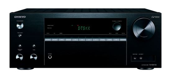 Picture of TXNR575EB: ONKYO 7.2 Channel 2 Zone AV Receiver. HDMI 4 in, 1 out. Dolby Atmos & DTS:X reproduction. HDMI 4K@60Hz support. Theatre dimensional virtual surround function. Colour Black