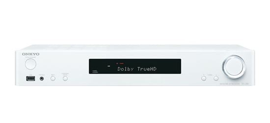 Picture of TXL50W: ONKYO 5.1 Channel Slim AV Receiver. HDMI 4 in, 1 out. ChromeCast built-in. Ultra HD TV support. Spotify, TIDAL, Deezer support. FlareConnect multi-room audio. Colour White