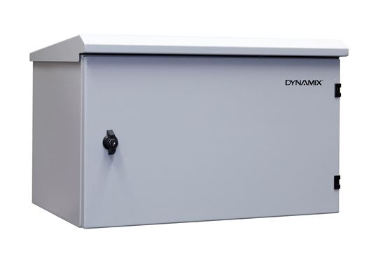 Picture of RODW6-400: DYNAMIX 6RU Outdoor Wall Mount Cabinet. (611 x 425 x 390mm). IP65 rated. Lockable front door. No fans or filters. Wall mount included. Made from rolled steel. Grey