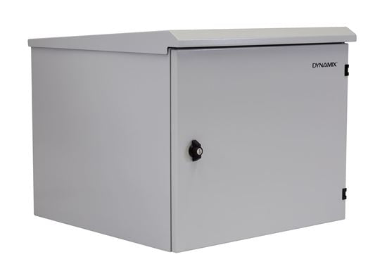 Picture of RODW9-400: DYNAMIX 9RU Outdoor Wall Mount Cabinet. (611 x 425 x 440mm). IP65 rated. Lockable front door. No fans or filters. Wall mount included. Made from rolled steel. Grey