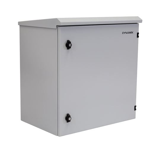 Picture of RODW12-400: DYNAMIX 12RU Outdoor Wall Mount Cabinet. (610 x 425 x 640mm). IP65 rated. Lockable front door. No fans or filters. Wall mount included. Made from rolled steel. Grey