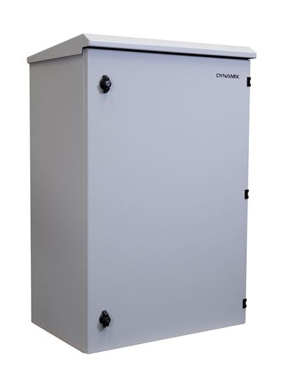 Picture of RODW18-600: DYNAMIX 18RU Outdoor Wall Mount Cabinet. (611 x 625 x 640mm). IP65 rated. Lockable front door. No fans or filters. Wall mount included. Made from rolled steel. Grey