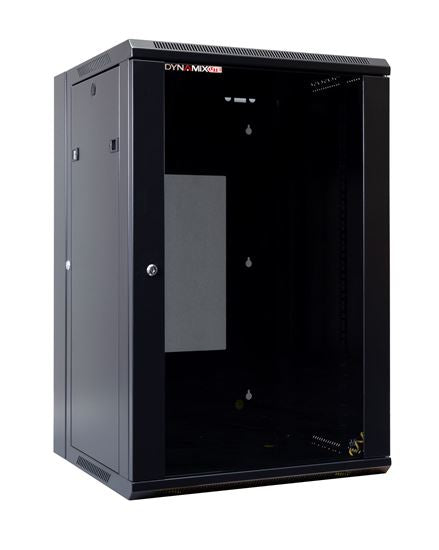 Picture of RSFDSL18: DYNAMIX LITE 18RU Swing Wall Mount Cabinet. Right hand mounted. The LITE version excludes fixed shelves and fans. Includes 10x cage nuts. Gloss black colour.