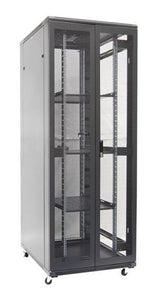 Picture of RSR45-8X12: DYNAMIX 45RU Server Cabinet 1200mm Deep (800 x 1200 x 2210mm). Incl. 3 x Fixed Shelves, 4x Fans, 25x Cage Nuts, 4x Castors & 4x Level Feet. front vertical cable management. Dual front & rear mesh doors. Black