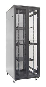 Picture of RSR45-8X12FP: DYNAMIX 45RU Server Cabinet 1200mm Deep (800 x 1200 x 2210mm). Incl. 3 x Fixed Shelves, 4x Fans, 25x Cage Nuts, 4x Castors & 4x Level Feet. Dual front & rear mesh doors. Supplied as Flat Pack. Black.