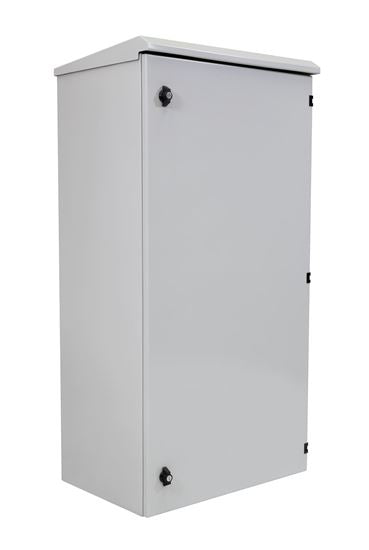 Picture of ROD45-6X6GY: DYNAMIX 45RU Outdoor Freestanding Cabinet. (600 x 600 x 2000mm external). IP45 rated. Lockable front door. No fans or filters. Made from rolled steel. Grey
