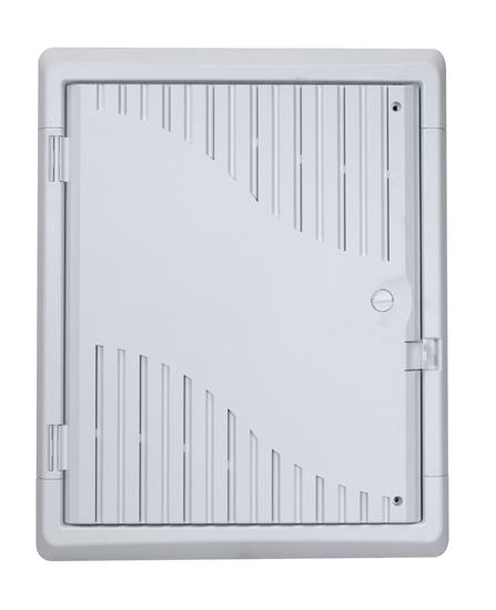 Picture of HWS-1803WRV2: DYNAMIX 18'' Recessed Plastic Network Enclosure, WiFi Ready, Slim Vented Lid, Dual GPO and Cable Entry Knock Outs.
