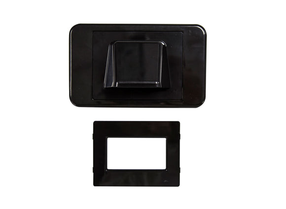 Picture of WP-BULLNOSE\BLK: DYNAMIX Combination Flush & Bullnose Cable Management Wall Plate With Brush. Black Colour
