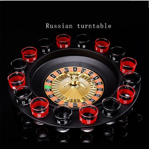 Bar Funny Tools Russia Turntable Shot Glass Drinking Roulette Game Set 16 Shots