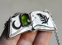 Load image into Gallery viewer, Spellbook Necklace #1, Tourmaline, Sterling Silver.