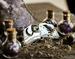 Spellbook Necklace #3, Tourmaline, Sterling Silver.