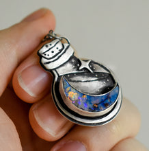 Load image into Gallery viewer, Luna Bottle Essence Necklace #5, Monarch Opal, Sterling Silver.