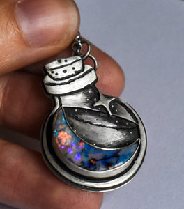 Luna Bottle Essence Necklace #5, Monarch Opal, Sterling Silver.