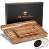 Acacia Wood Chopping Board & Wood Balm Set - Includes Premium Carnauba Wax (Coconut & Orange Scented)