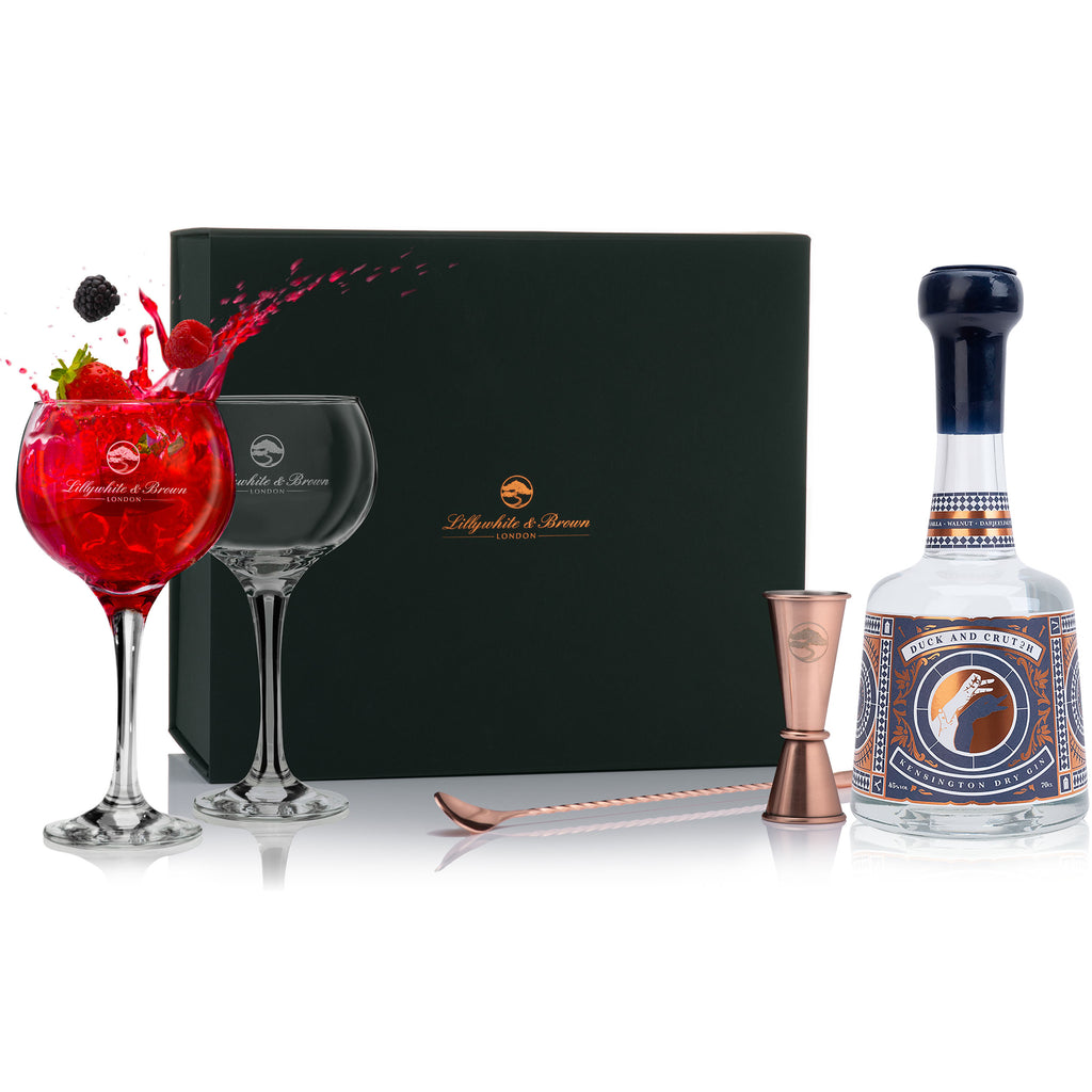 Gin Glass Gift Set with Duck and Crutch Kensington Dry Gin, 70cl