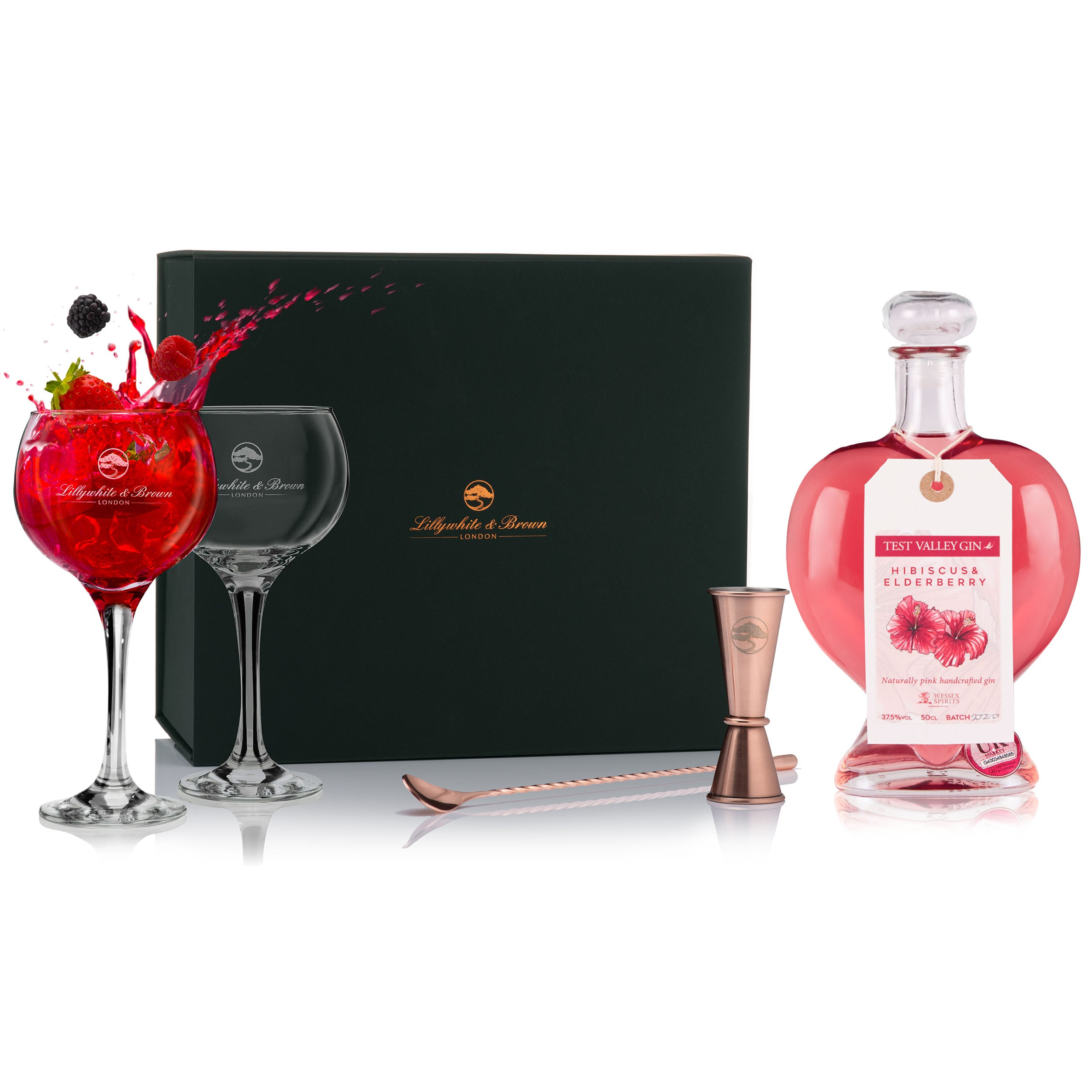 Gin Glass Gift Set with Pink Heart Gin, 50cl