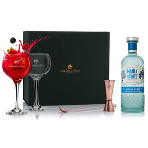 Gin Glass Gift Set with Manly Australian Dry Gin, 70cl