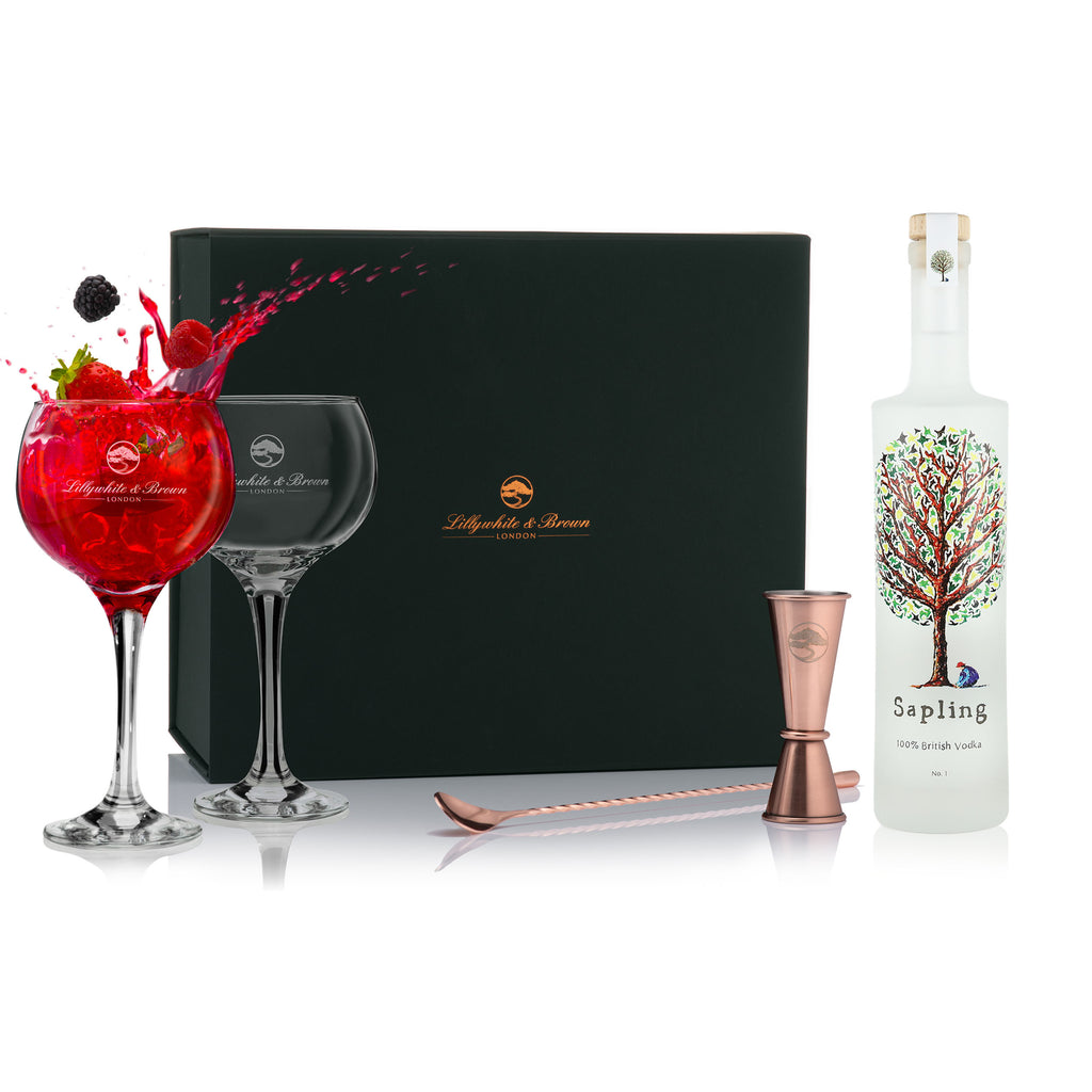 Gin Glass Gift Set with Sapling Vodka, 70cl