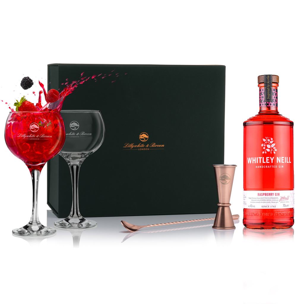 Gin Glass Gift Set with Whitley Neill Raspberry Gin, 70cl