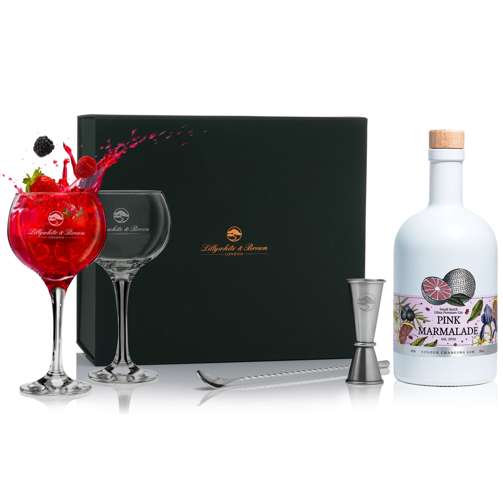 Gin Glass Gift Set with Pink Marmalade Gin, 50cl