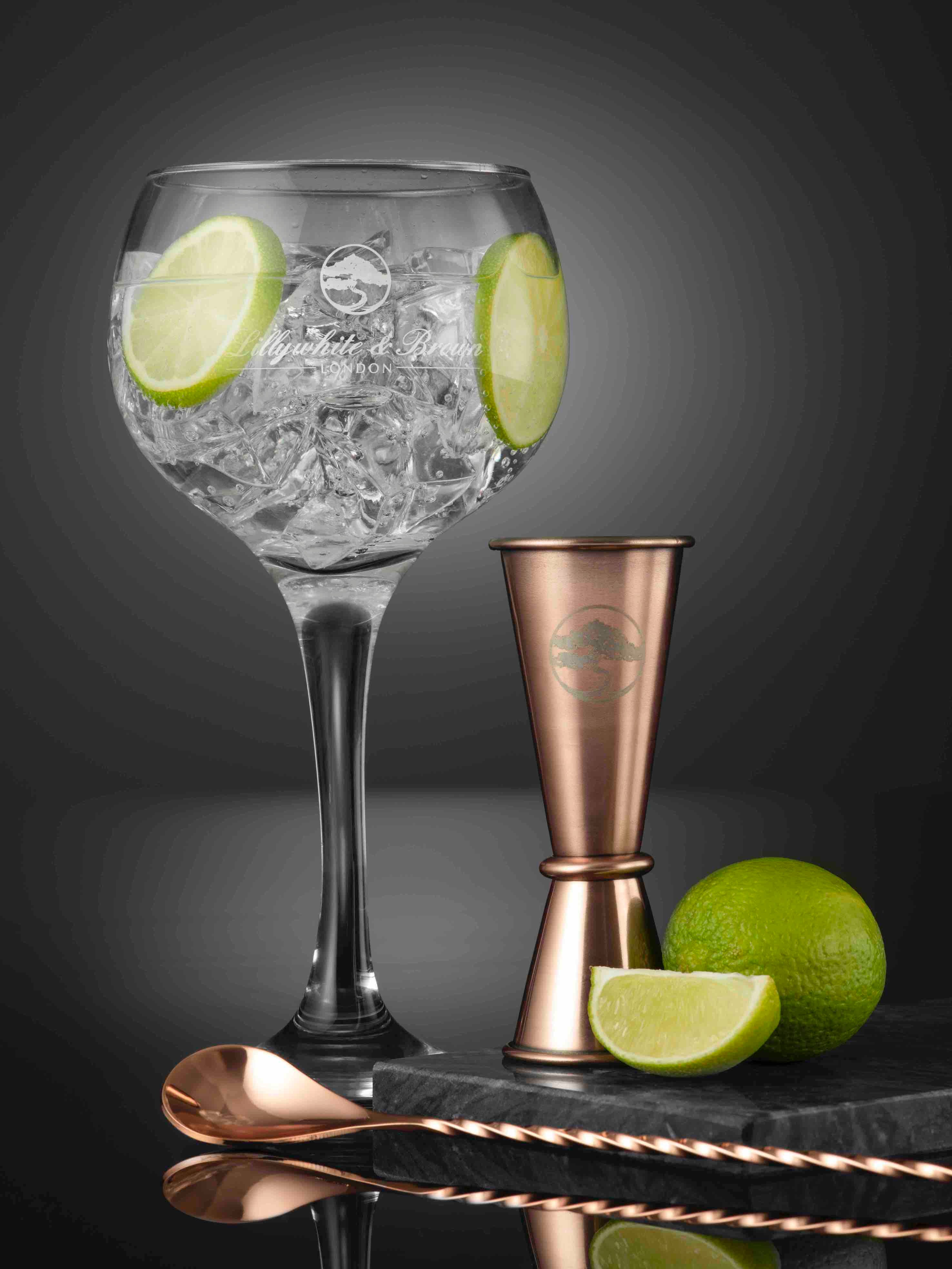 Gin Glass Gift Set (Copper Edition) with Whitley Neill Rhubarb & Ginger Gin, 70cl