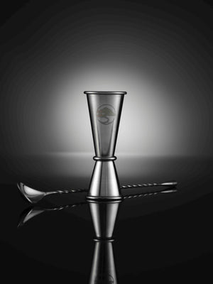 Lillywhite and Brown - Luxury Gin Glasses - set of 2 with spirit measure jigger & cocktail spoon - silver