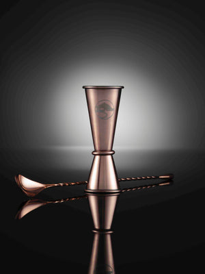 Lillywhite and Brown - Luxury Gin Glasses - set of 2 with spirit measure jigger & cocktail spoon - copper