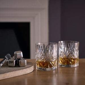 Lillywhite & Brown - Whiskey Stones and Whisky Glass Gift Set, Old Fashioned Tumbler Glasses Set of 2 (310ml), with Reusable Stainless Steel Whisky Stones
