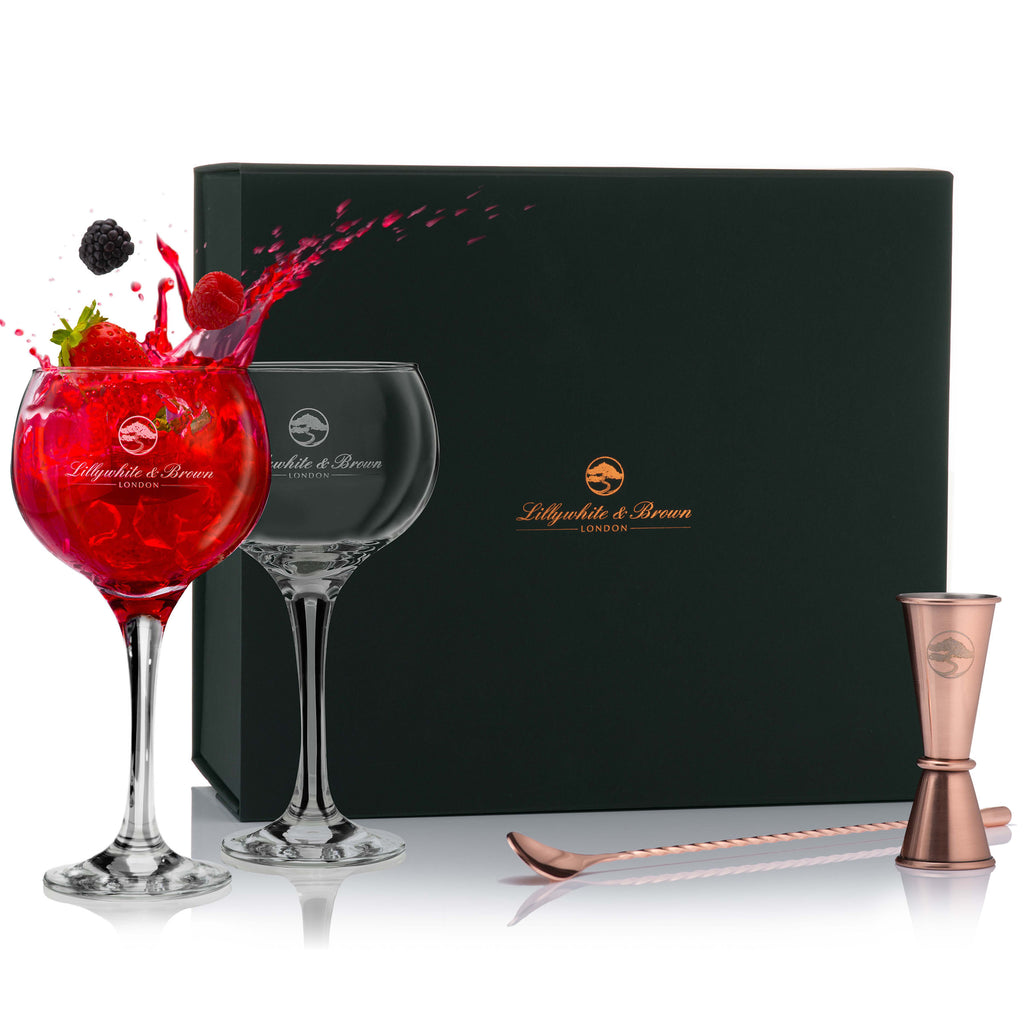 Gin Glass Gift Set with Spirit Measure & Cocktail Spoon (Copper Edition)