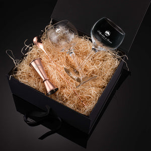 Gin Glass Gift Set with Whitley Neill Rhubarb & Ginger Gin, 70cl