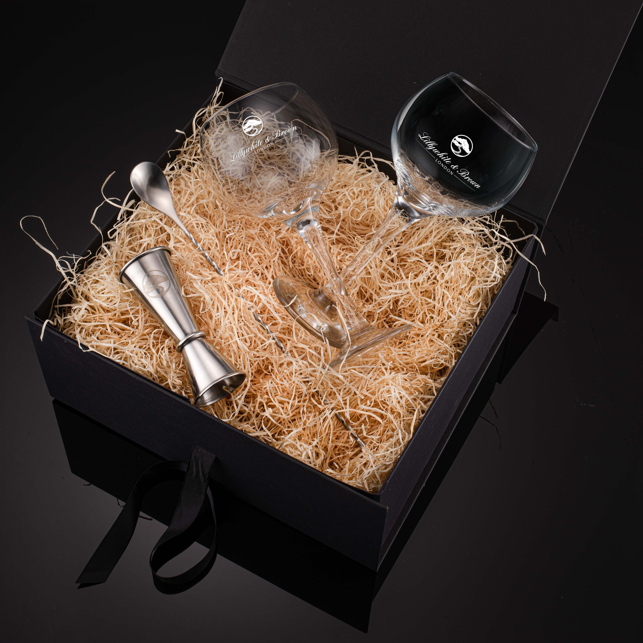 Gin Glass Gift Set with Spirit Measure & Cocktail Spoon (Silver Edition)