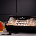 Vintage Tumbler Glass Gift Set and Ice Stones with Sun Rum, 70cl