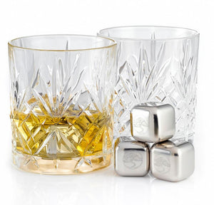 Vintage Tumbler Glass Gift Set and Ice Stones with Peg Blended Scotch Whisky, 70cl