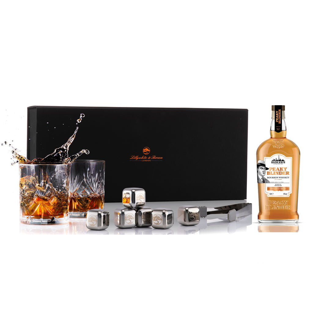Vintage Tumbler Glass Gift Set and Ice Stones with Peaky Blinder Bourbon, 70cl