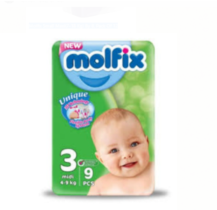Molfix Small Midi (4-9 Kg)  x 9 (Pack Of 12)