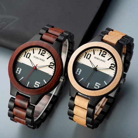 Maple Wood two tone Watch BOBO BIRD