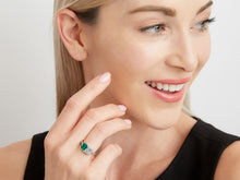 Load image into Gallery viewer, Kazanjian Colombian Emerald & Diamond Twin Ring, in Platinum