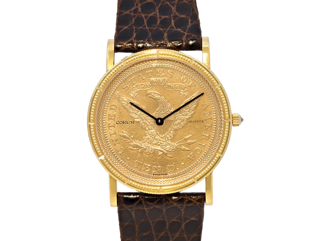 Corum Ten Dollar Gold Coin Watch with Brown Leather Strap in 18K Yellow Gold