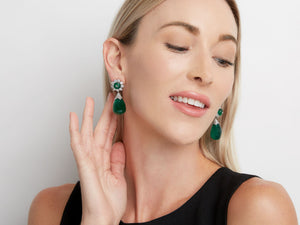 Kazanjian Emerald Drop Earrings, in 14K White Gold