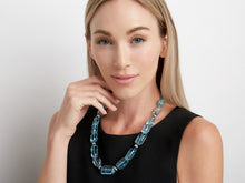 Load image into Gallery viewer, Kazanjian Aquamarine Bead, Onyx, and Diamond Necklace. in 18K White Gold