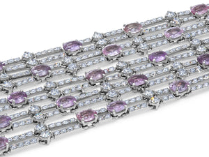 Kazanjian Pink Sapphire and Diamond Bracelet, in 18K White Gold