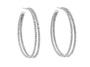 Kazanjian Double Hoop Diamond Earrings in 14K White Gold