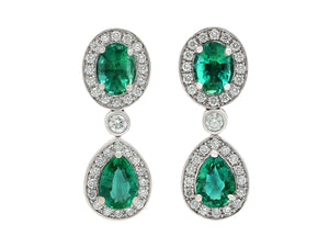 Kazanjian Emerald & Diamond Drop Earrings, in 18K White Gold
