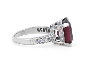 Kazanjian Rubelite Tourmaline, 7.15 carats, and Diamond Ring in Platinum