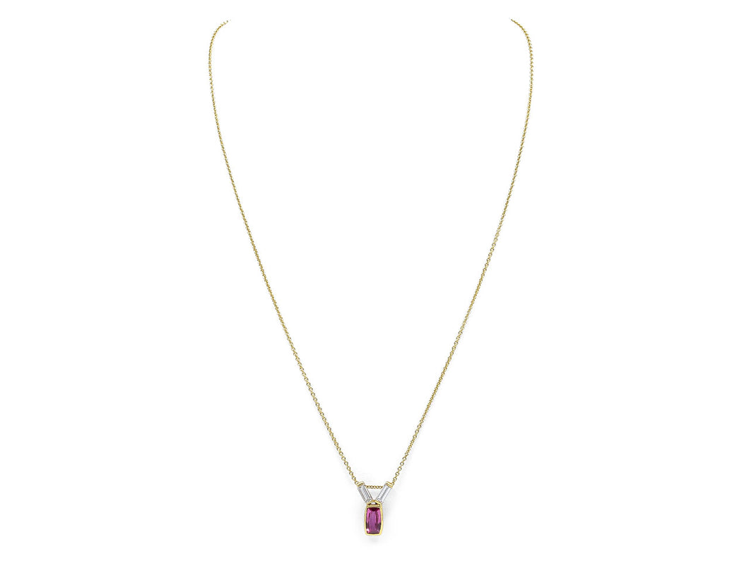 Kazanjian Ruby, 1.13 carats, and Diamond Pendant Necklace, in 18K Yellow Gold