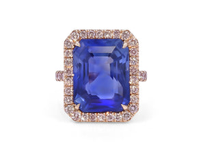 Kazanjian Sri Lanka Sapphire, 15.51 carats, Ring in Platinum & 18K Yellow Gold